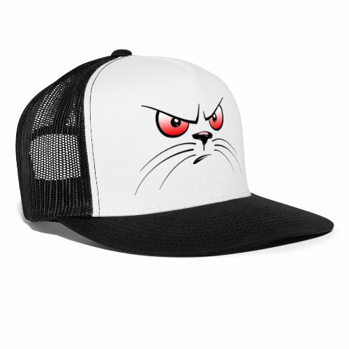GATTO ARRABBIATO OCCHI ROSSI - ANGRY CAT RED EYES - Trucker Cap