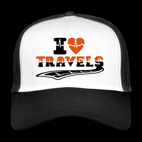 i love travels surprises 2 col - Trucker Cap