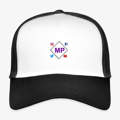 MP logo with social media icons - Trucker Cap