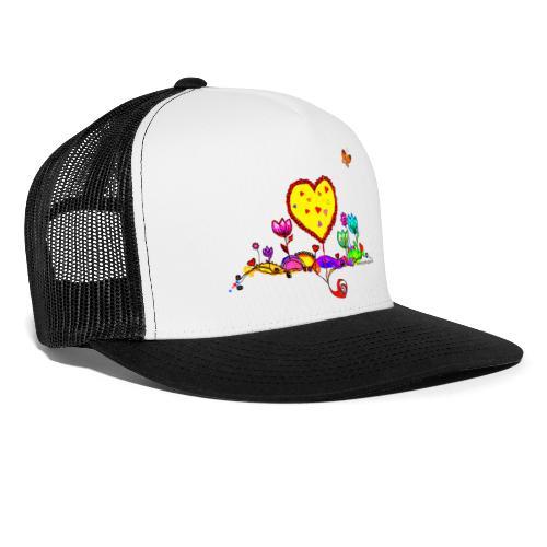 Blumengruß mit Herz - Trucker Cap