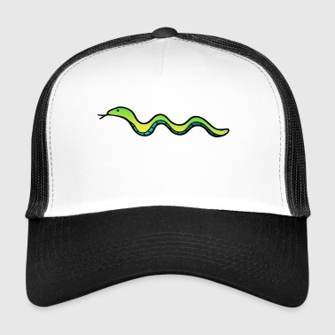 Snake in green and blue. gift idea - Trucker Cap