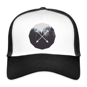 Misty Forest Blended With Crossed Arrows - Trucker Cap