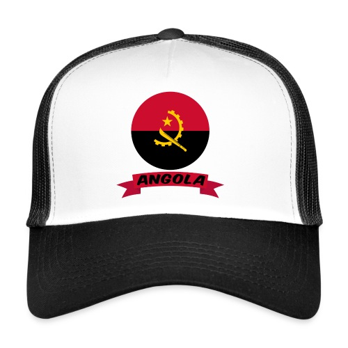flag of Angola t shirt design ribbon banner - Trucker Cap