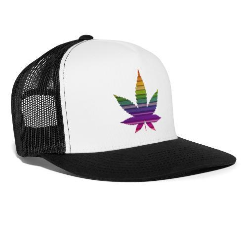 Weedblatt Design mit farbenfrohem Hintergrund - Trucker Cap