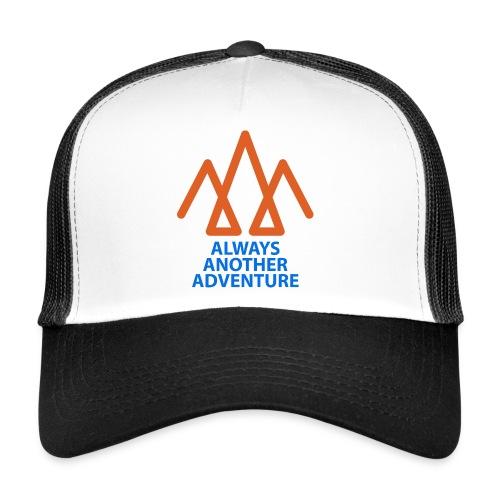 Orange logo, blue text - Trucker Cap