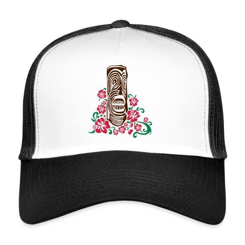 Tiki Totem with Hibiscus Flowers - Trucker Cap