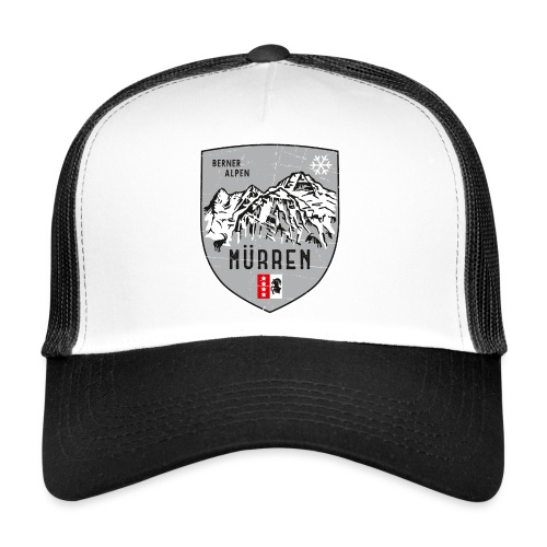 Eiger, Mönch und Jungfrau mit Mürren Flagge - Trucker Cap
