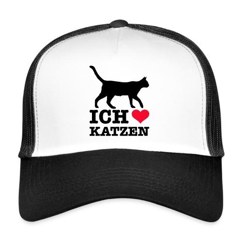 Ich liebe Katzen mit Katzen-Silhouette - Trucker Cap