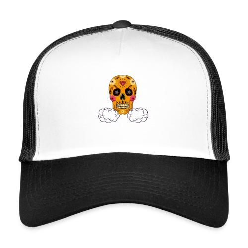 skul orange png - Trucker Cap