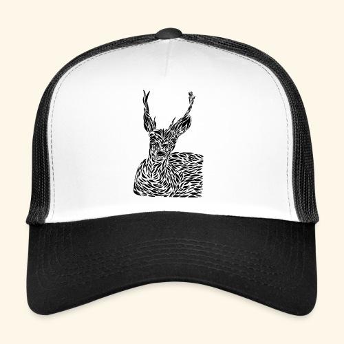 deer black and white - Trucker Cap