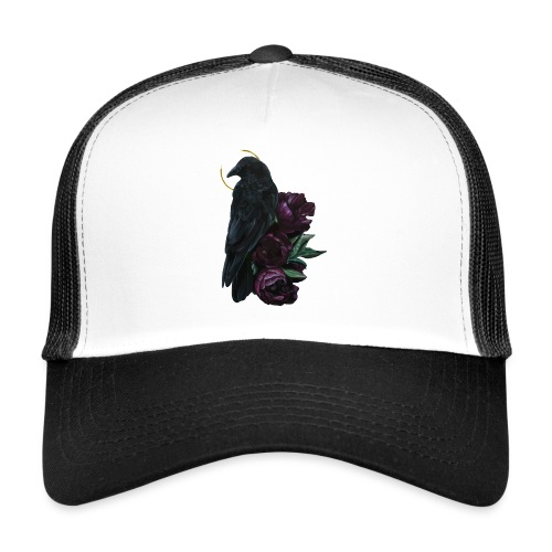 crow and flowers - Trucker Cap