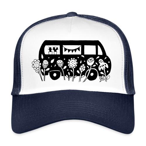 Flower Power Bus Liebe Florale Illustration - Trucker Cap