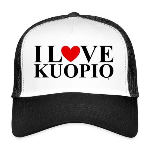 I LOVE KUOPIO (koko teksti, musta) - Trucker Cap