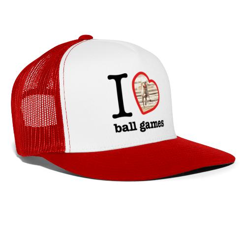 I love ball games Dog playing ball retrieving ball - Trucker Cap