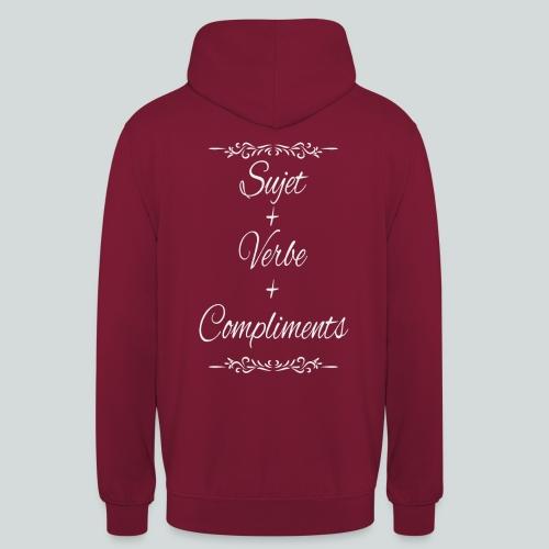 Sujet+verbe+compliments - Sweat-shirt à capuche unisexe
