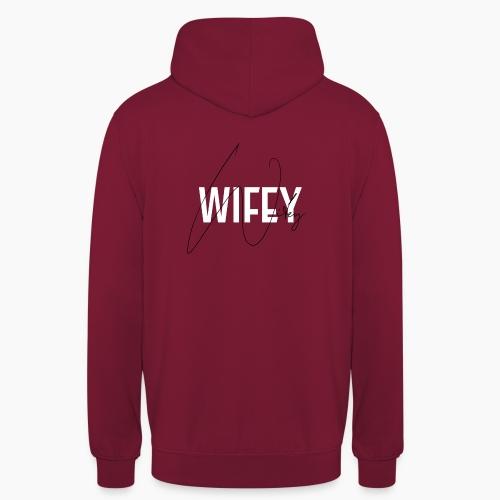Wifey - Schrift auf rotem Hintergrund - Unisex Hoodie