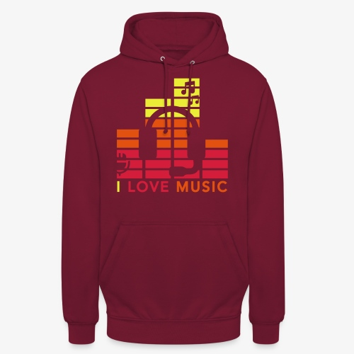 I love music Illustration Musik Drummershirts.de - Unisex Hoodie
