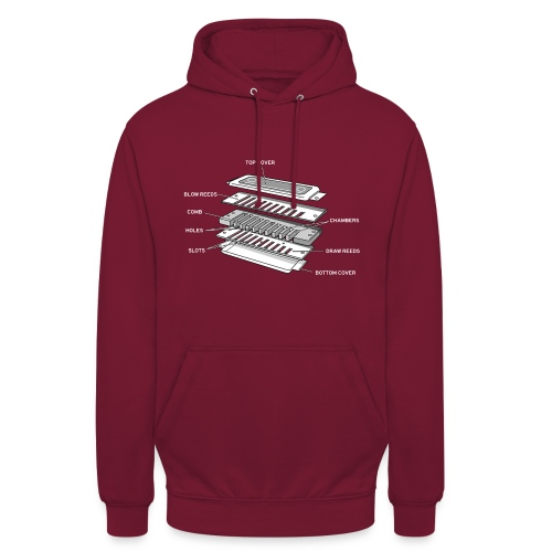 Exploded harmonica - white text - Unisex Hoodie
