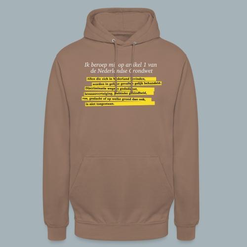 Nederlandse Grondwet T-Shirt - Artikel 1 - Hoodie unisex