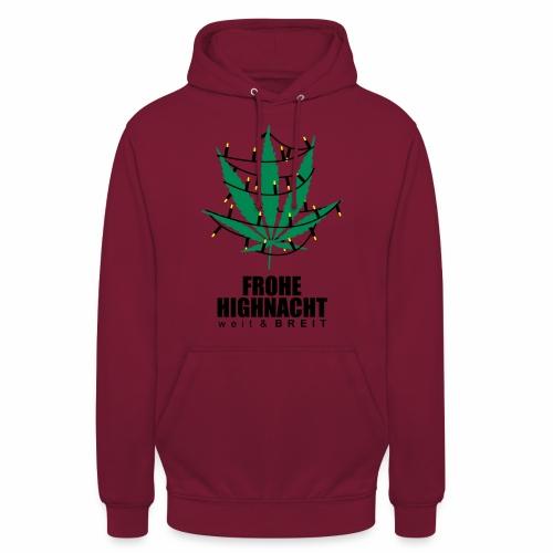 Frohe Highnacht Weihnachten Xmas Fun Hanf Cannabis - Unisex Hoodie