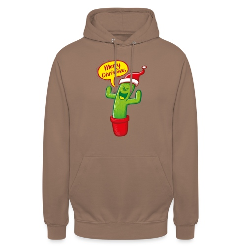 Naughty green cactus in red hat celebrating Christmas - Unisex Hoodie