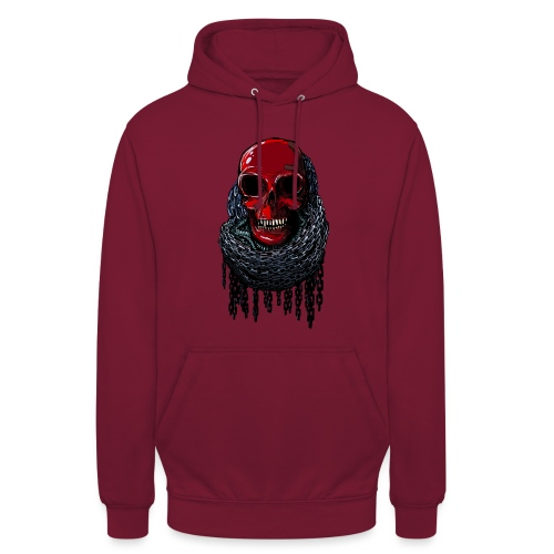 RED Skull in Chains - Unisex Hoodie