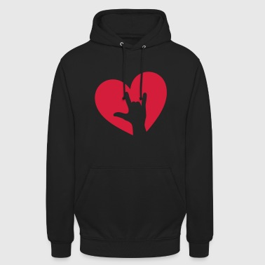 Herz, Hand, Rockmusik, I love you, Party, Festival - Unisex Hoodie