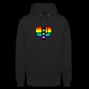 Hart Amsterdam in regenboog kleuren - Hoodie unisex