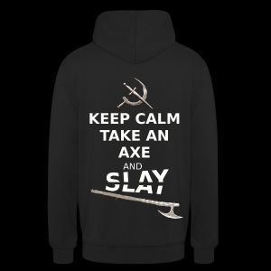 Keep Calm Take an Axe and Slay - Blanc - Sweat-shirt à capuche unisexe