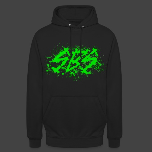 SBS Splatter Green Logo with Varsity Logo on Back - Felpa con cappuccio unisex