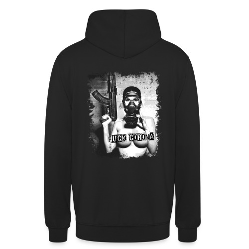 masked girl with AK - FUCK CORONA - 4black clothes - Unisex Hoodie