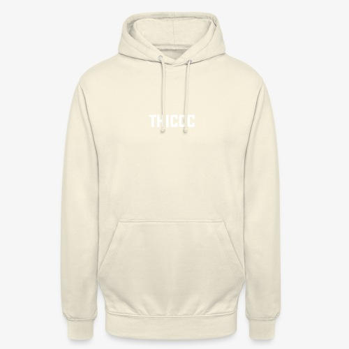 thiccc text logo WHITE - Unisex Hoodie