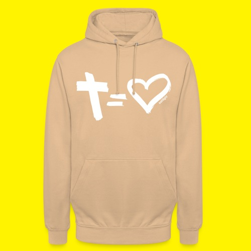 Cross = Heart WHITE // Cross = Love WHITE - Unisex Hoodie