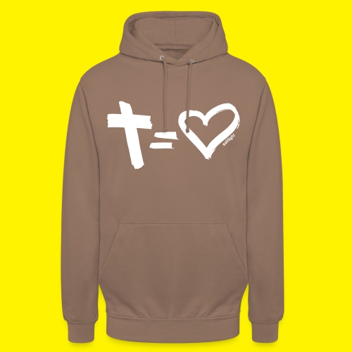 Cross = Heart WHITE // Cross = Love WHITE - Unisex Hoodie