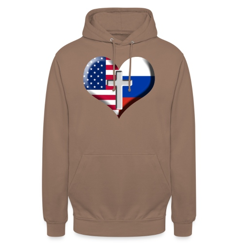 USA and Russia Heart with Cross - Unisex Hoodie