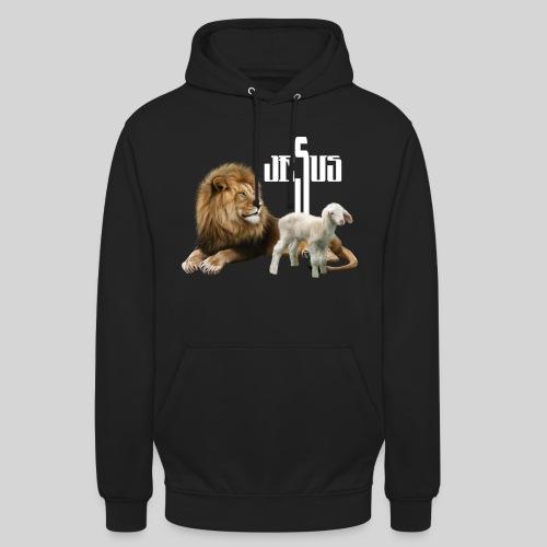 Jesus der Löwe und das Lamm - Unisex Hoodie