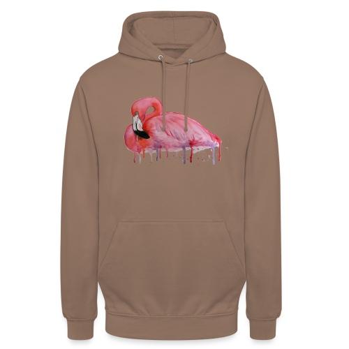 Pink Flamingo Watercolors Nadia Luongo - Felpa con cappuccio unisex