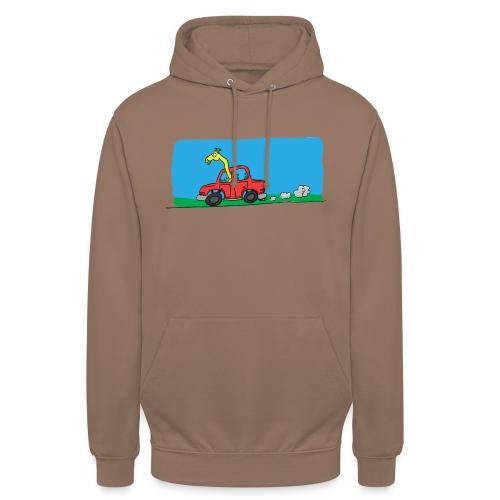 La girafe conductrice - Sweat-shirt à capuche unisexe