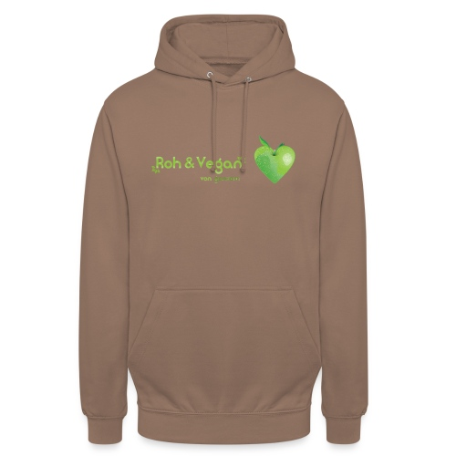 Roh & Vegan grünes Apfelherz (Rohkost) - Unisex Hoodie
