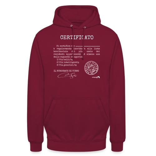 1.07 Certificato Piu Generico B (Aggiungi nome) - Felpa con cappuccio unisex
