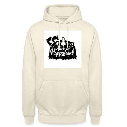 Alice in Nappyland TypographyWhite with background - Unisex Hoodie