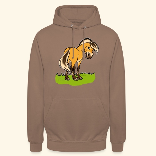 Freundliches Fjordpferd (Ohne Text) Weisse Umrisse - Sweat-shirt à capuche unisexe