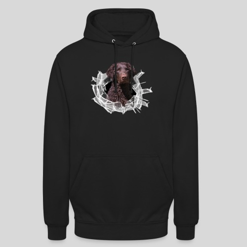 Curly Coated Liver im Glasloch - Unisex Hoodie