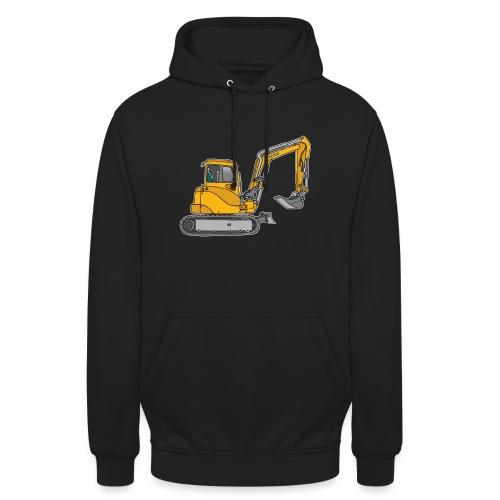 BAGGER, gelbe Baumaschine mit Schaufel und Ketten - Unisex Hoodie