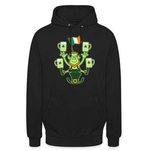 Leprechaun Juggling Beers and Irish Flag - Unisex Hoodie