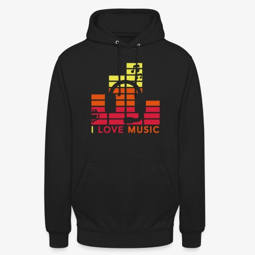 I love music Illustration Gig Band Musik Godigart - Unisex Hoodie
