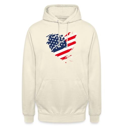 USA Amerika Sterne und Streifen Herz Fahne Flagge - Unisex Hoodie
