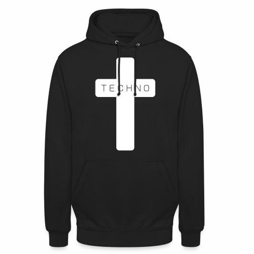 Techno Kreuz abgerundet dark minimal rave - Unisex Hoodie