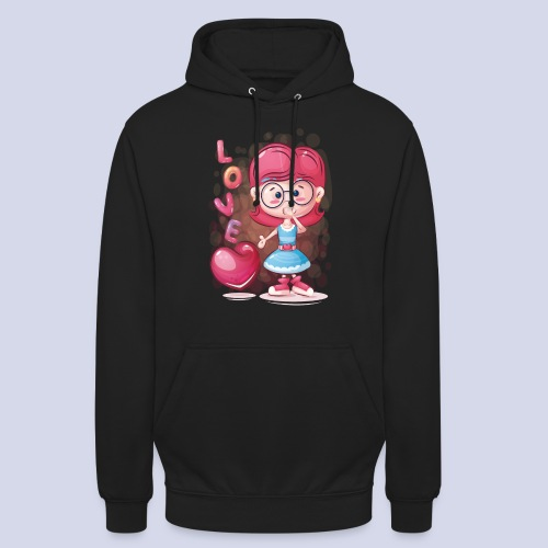 Funny and lovely girl cartoon design - Unisex Hoodie