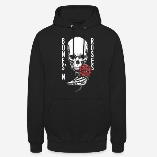 Knochen Rosen Schädel - Unisex Hoodie